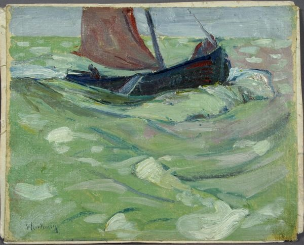 1030: Charles H. Woodbury, Sailboat at Sea, Sgnd.