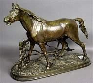 1063 PierreJules Mene Cheval a la Barriere Bronze