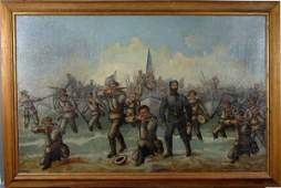 """1173: C. W. Rutherford, """"Storming the Beach..."""", O/C"""