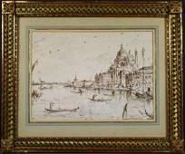 1245: Attributed to Francesco Guardi, Pen/Paper
