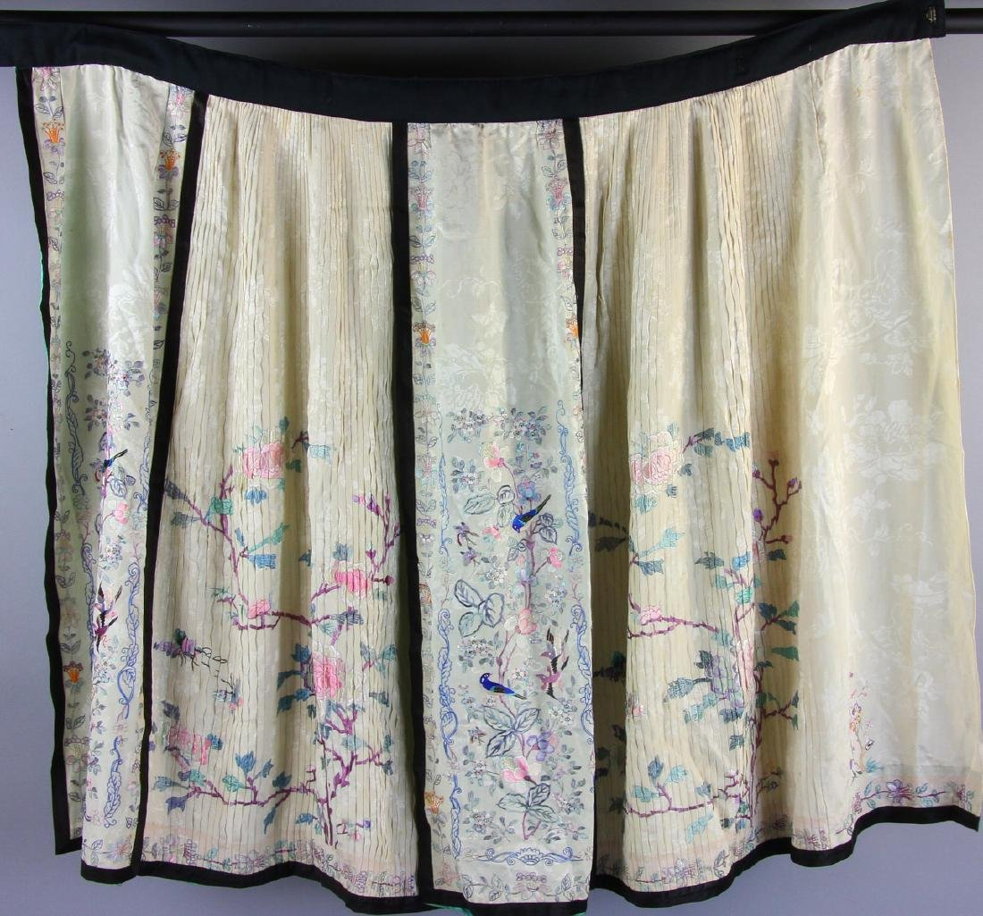 Antique Chinese White Embroidered Skirt