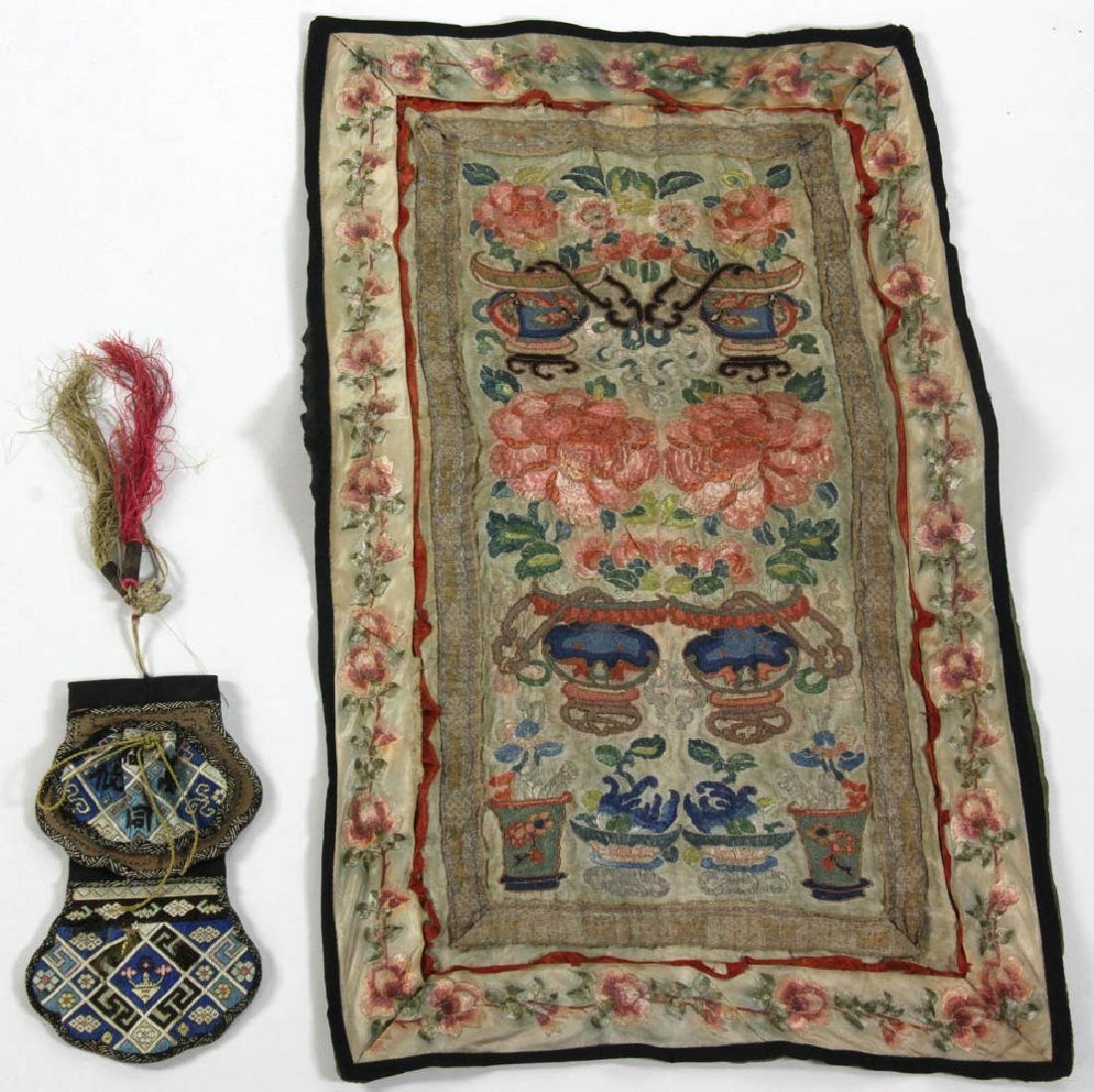 Two Chinese Silk Embroidered Items
