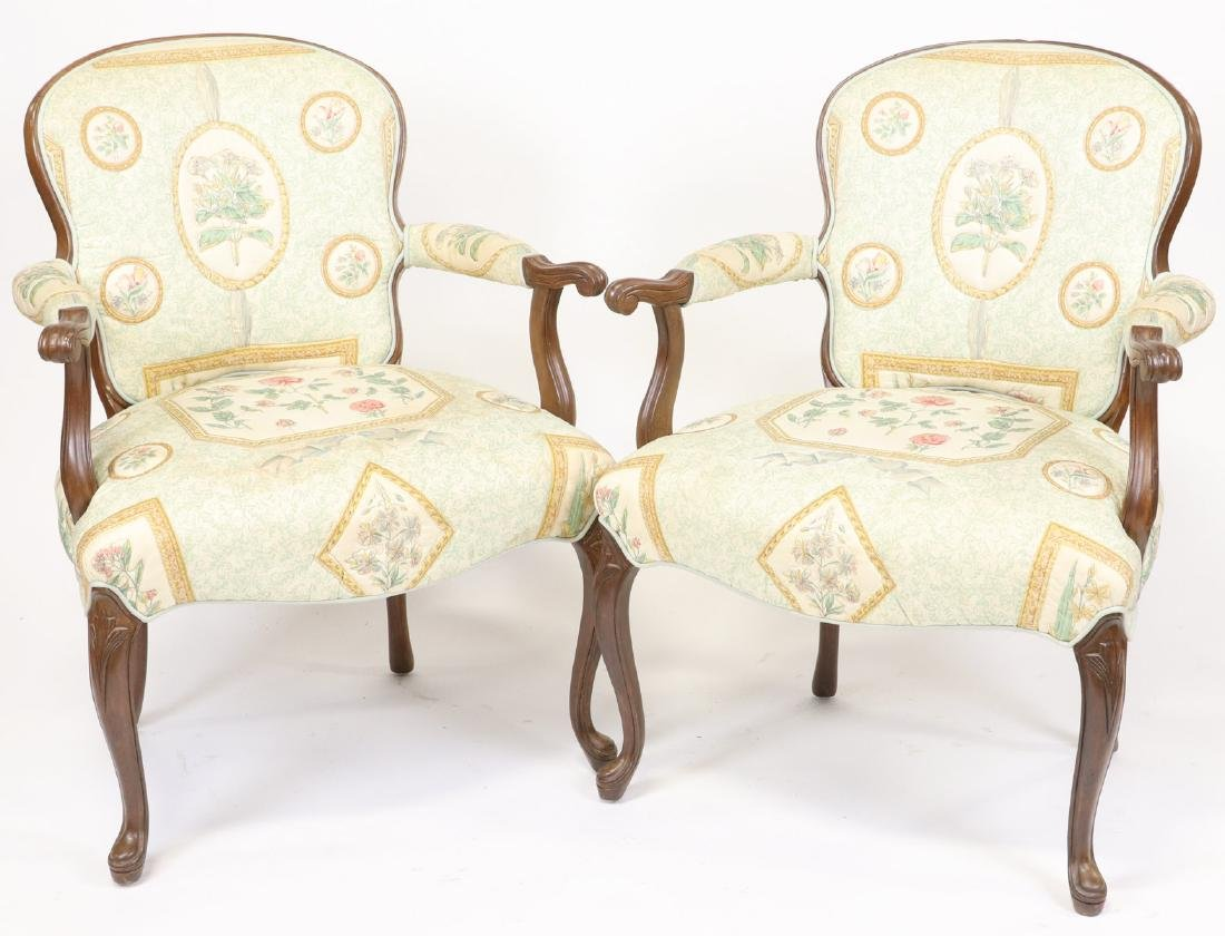 Pair of French Style Upholstered Armchairs