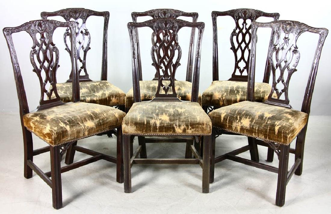 Six 19thC Chippendale-Style Side Chairs