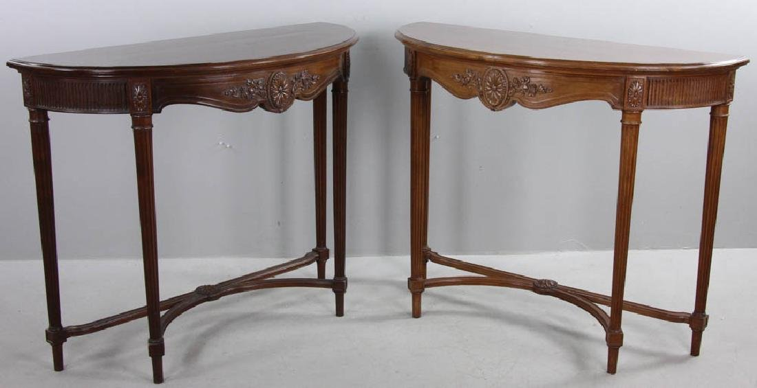 French Louis XVI Style Demi Lune Tables