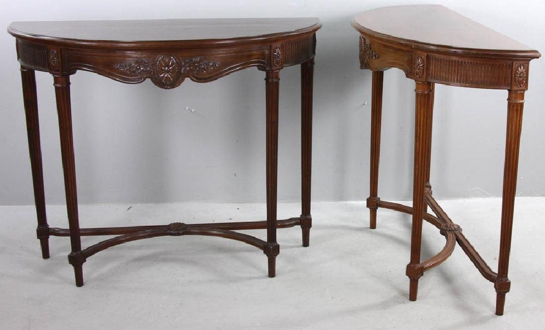 French Louis XVI Style Demi Lune Tables - 2