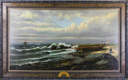 Signed Bricher, Afternoon by the Ocean