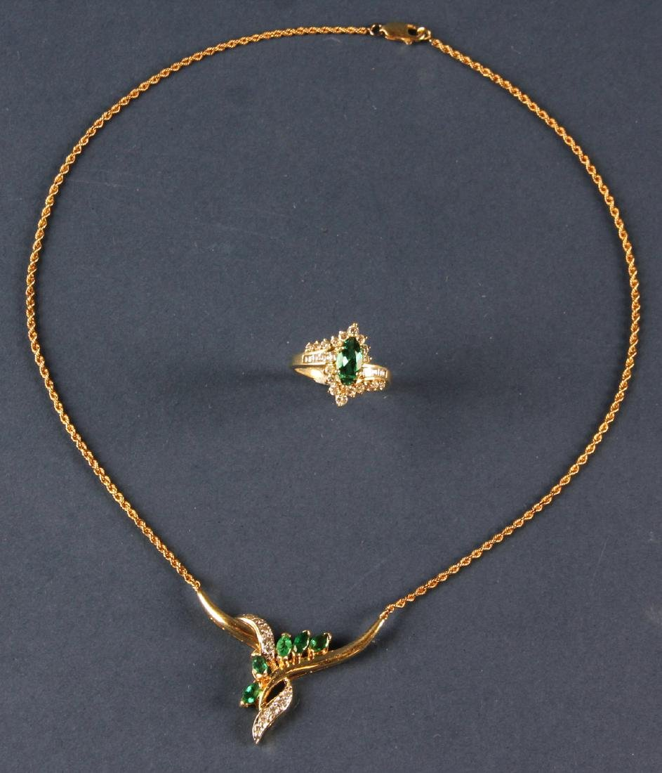 14k Gold, Diamond and Emerald Necklace