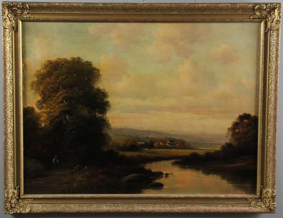 River Landscape, Oil on Canvas, Signed