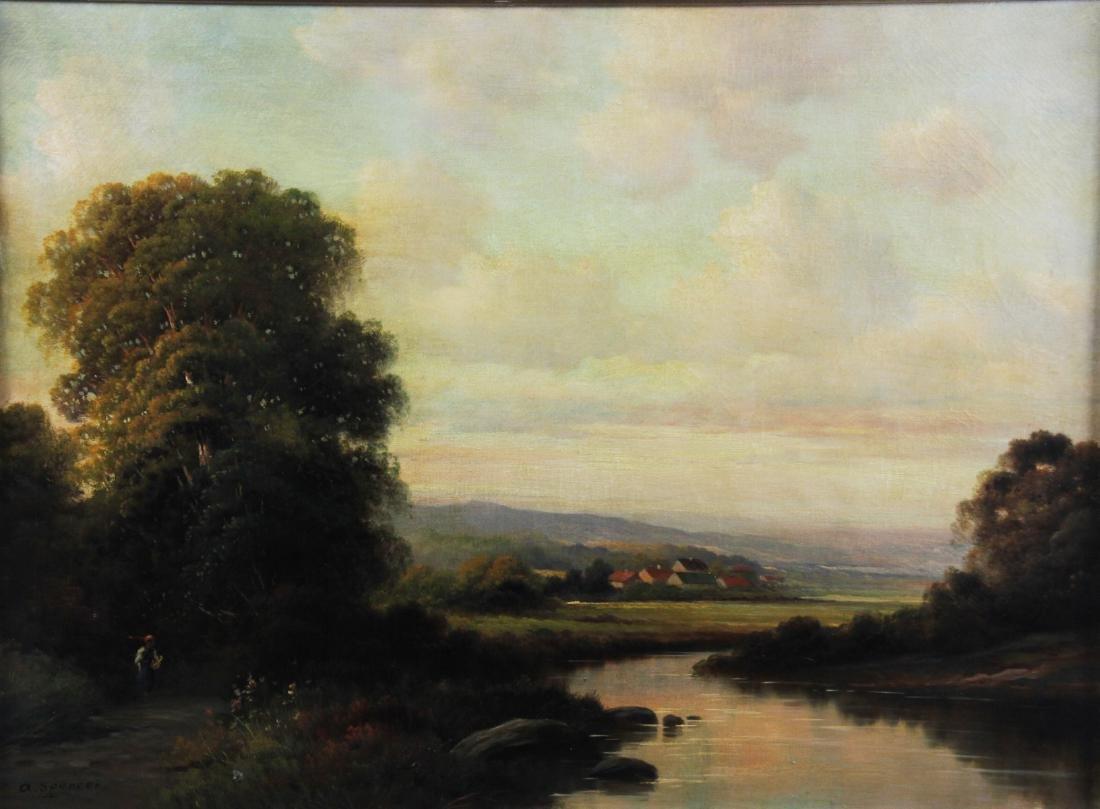 River Landscape, Oil on Canvas, Signed - 2