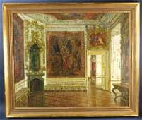 Signed Walter Gay Interior with Murals