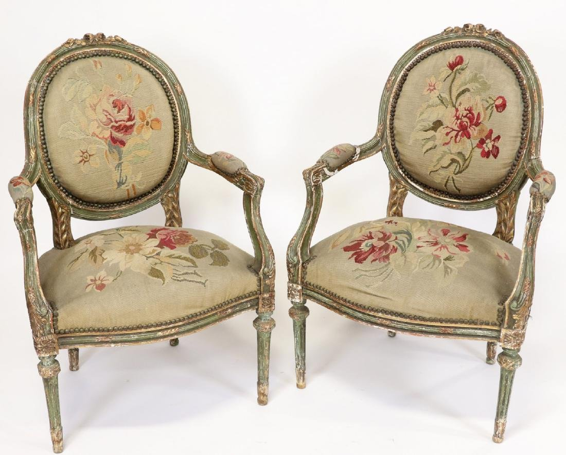 Pair of 19thC French Tapestry Carved Armchairs