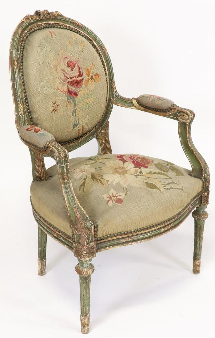 Pair of 19thC French Tapestry Carved Armchairs - 2
