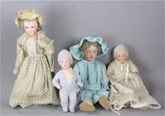 (4) Antique Dolls, Heubach, Marseille, etc