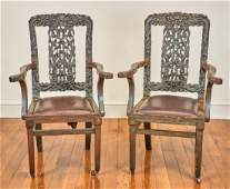 Pair of Chinese Carved Armchairs