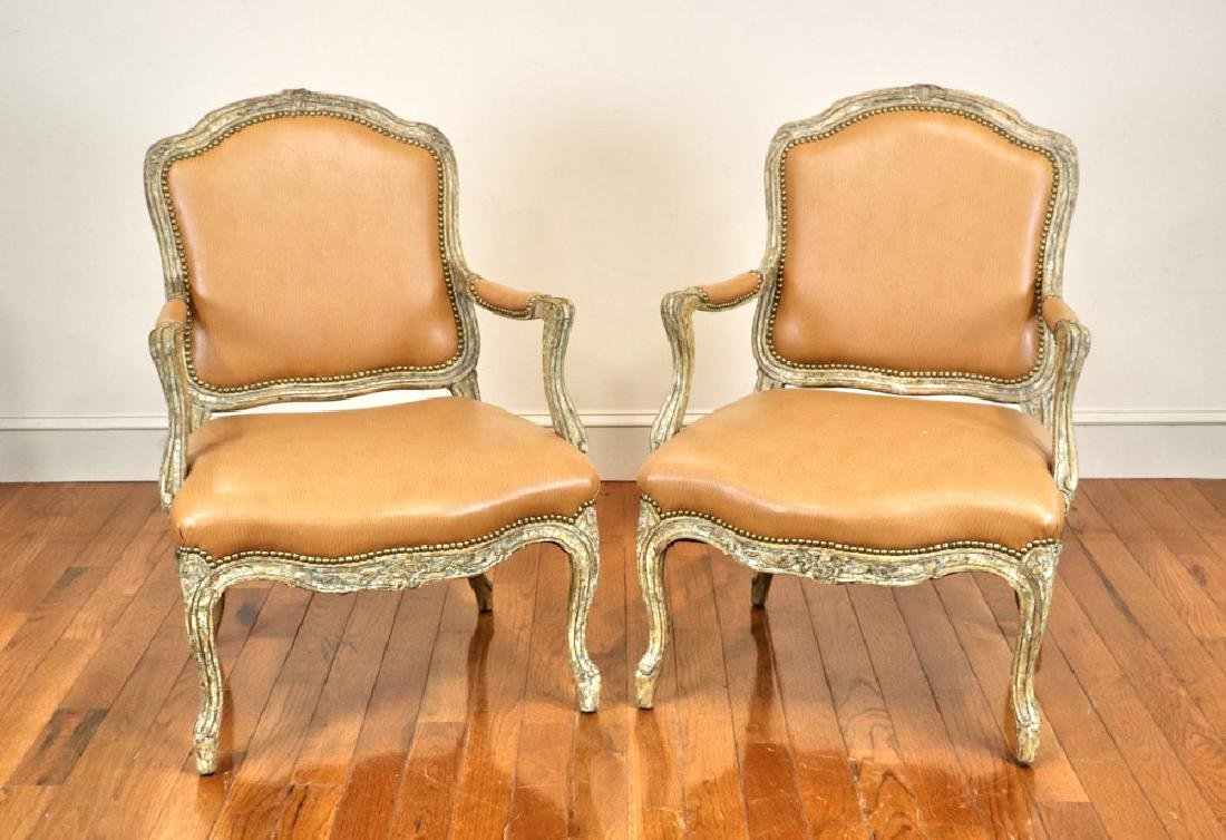 Pair of French Style Armchairs, Leather
