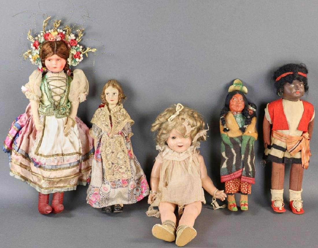 Group of Five early 20thC Dolls