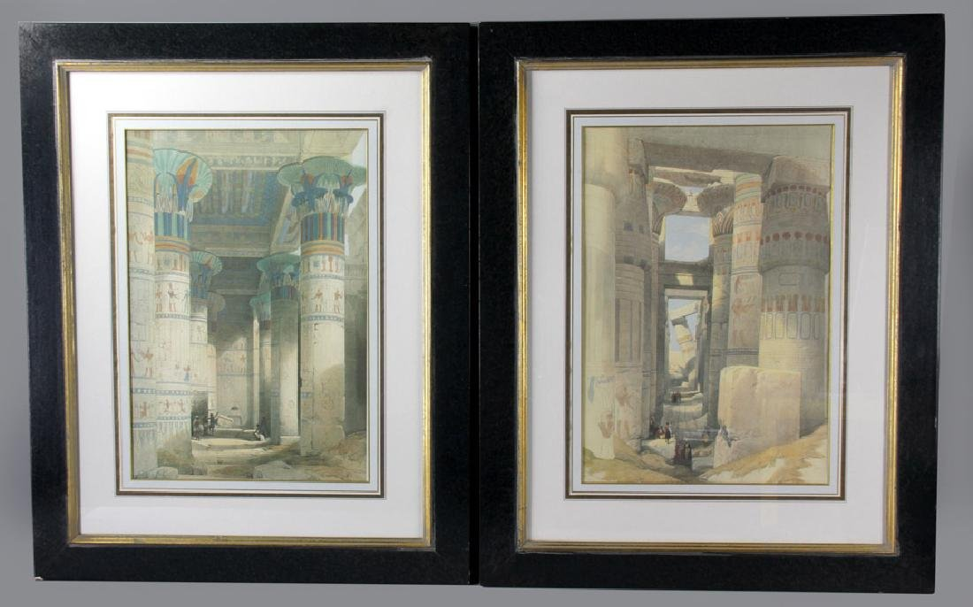 Two Offset Lithos, Egyptian Scenes