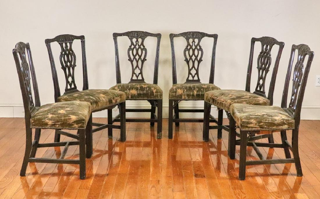 Set of (6) 19th C Chippendale Style Chairs