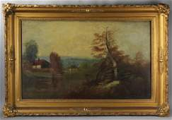 19th C Continental School Oil on Canvas