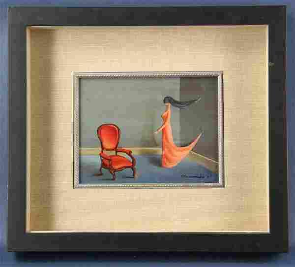 Gertrude Abercrombie, Orange Dress, Oil on Board