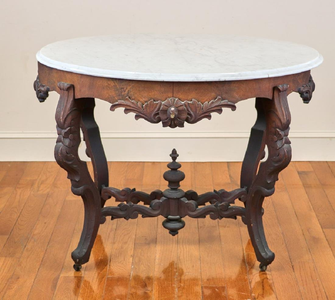 Late Victorian Walnut Oval Foyer Table