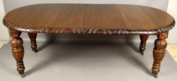2001: Late 19th Century Carved Oak Dining Table