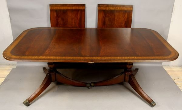2017: 20th C. Mahogany Inlaid Dining Table w/ Leaves