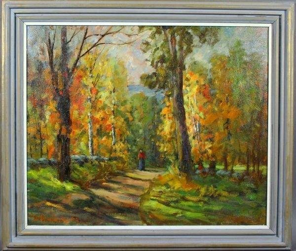 2130A: Sgnd. Ida Waslaske, Autumn Woods Scene, O/C