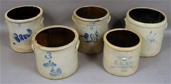 2294: (5) Early 20th C. Stoneware Crocks
