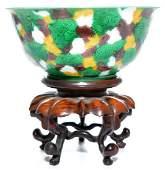 Rare Chinese Famille Verte Dragon Bowl