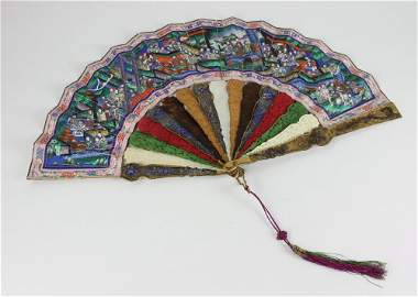 Circa 1850 Chinese Carved Painted Fan