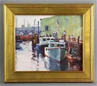 Carleen Muniz, Working Dock, Oil on Board