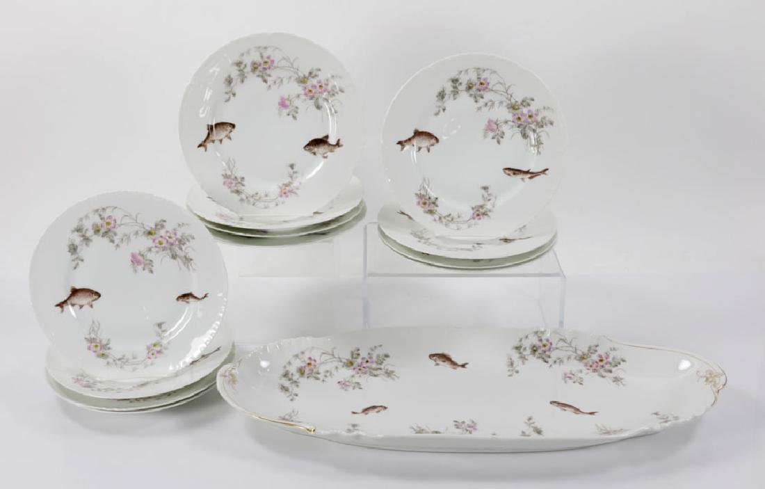 Limoges Floral and Fish Plate and Platter Set
