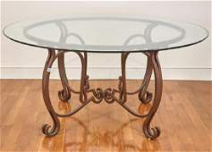 Glass Top Table With Wrought Iron Base