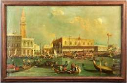 Manner of Canaletto Venetian Canal Oil on Canvas