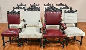 Antique Spanish Style Carved Walnut  Chairs