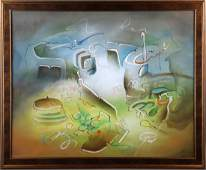 Roberto Matta Abstract Forms Oil on Canvas