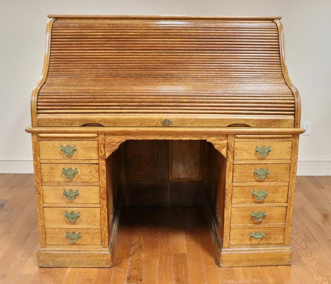 Antique Golden Oak Roll Top Desk