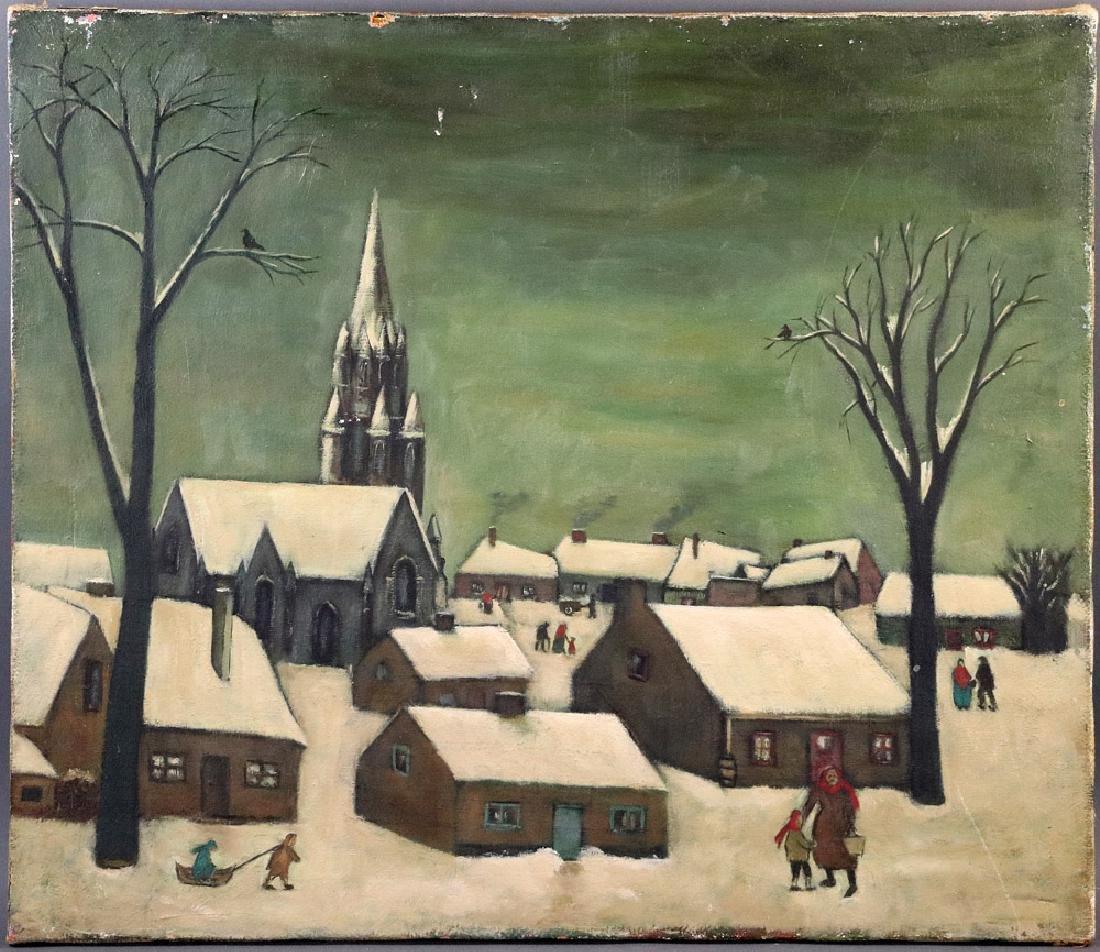 Russian School Oil on Canvas, Winter Scene