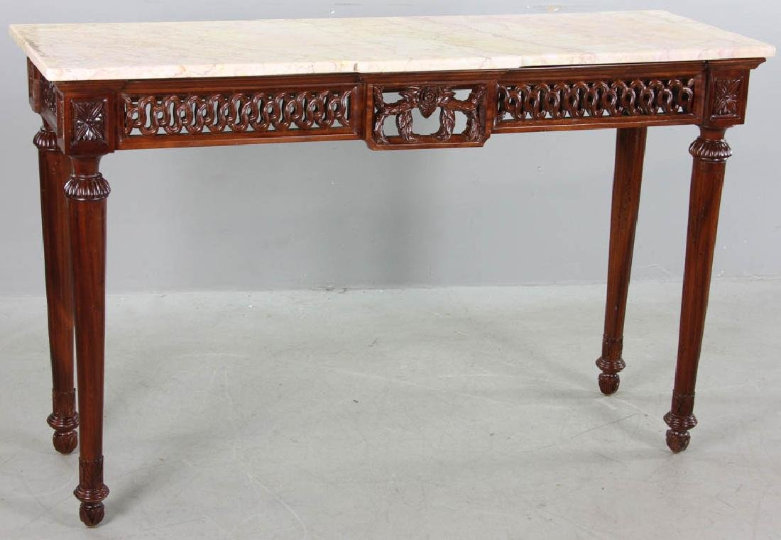 Regency Style Marble Top Mahogany Console