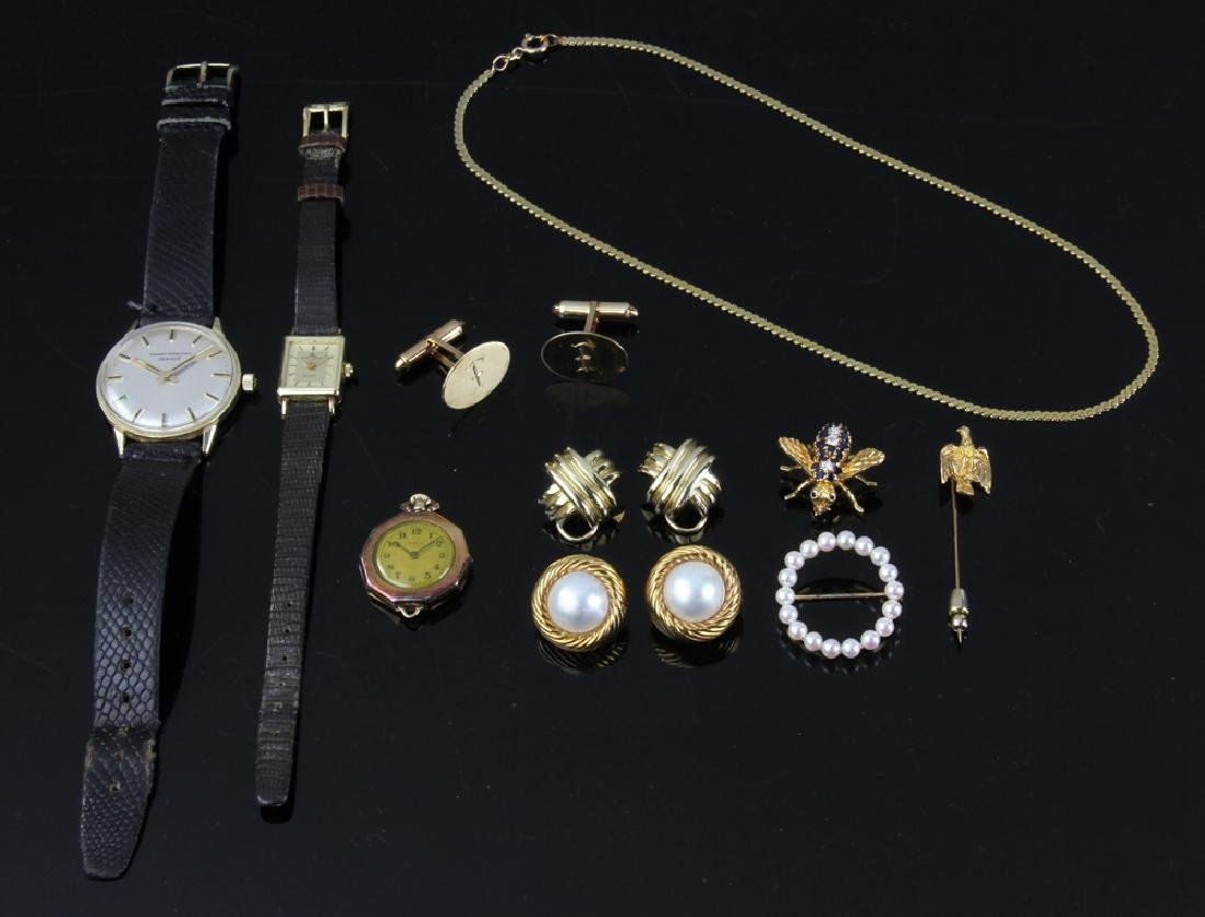 Group of 14k and 18k Gold Jewelry, Watches