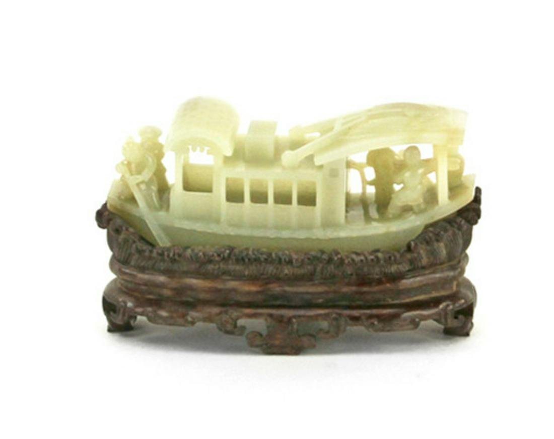 Chinese Carved White Jade Boat