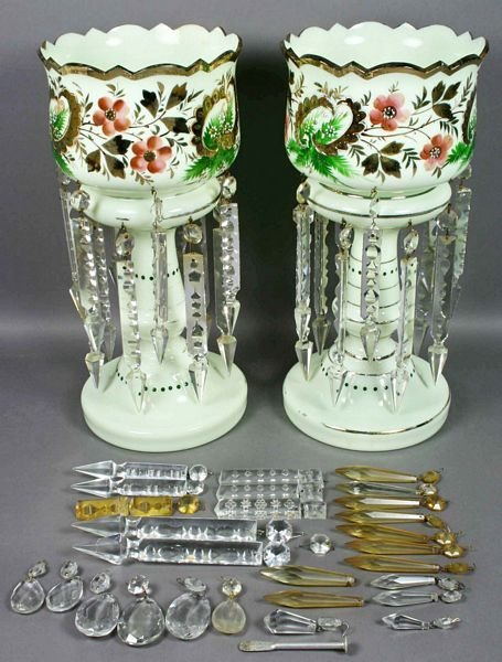 3012: Pair 19th C. English Bristol Glass Girandoles