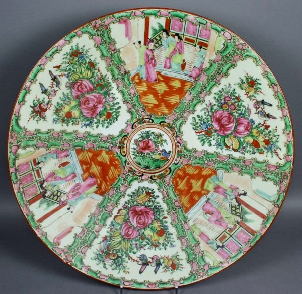 3015: 19th C. Rose Medallion Charger