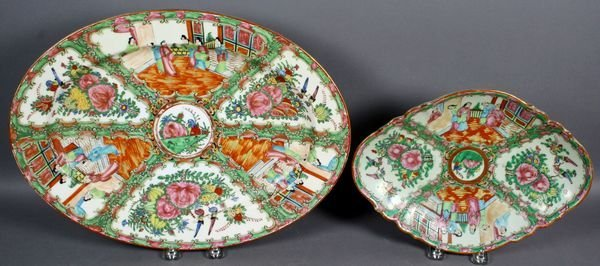 3020: 19th/20th C. Rose Medallion Platter and Tray