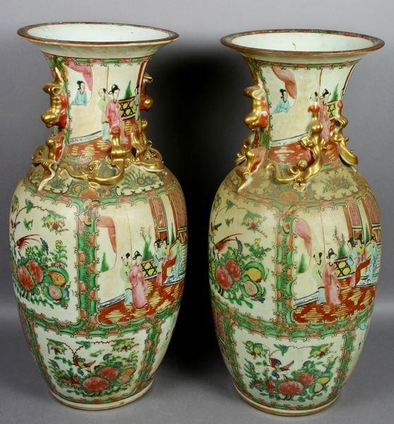 3022: Pair 19th/20th C. Rose Medallion Vases