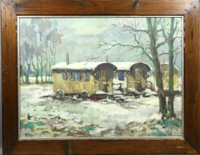 T. Luthink, Gypsy Wagon In Winter, O/C, Signed