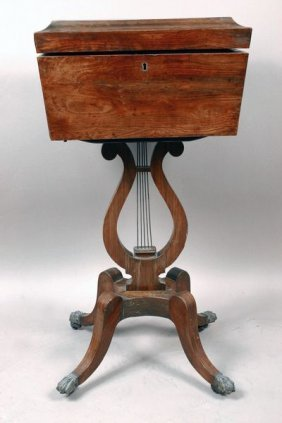 Early 19th C. English Regency Rosewood Tea Poy