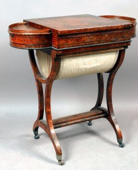 Early 19th C. Regency Sewing Table W/Game Board